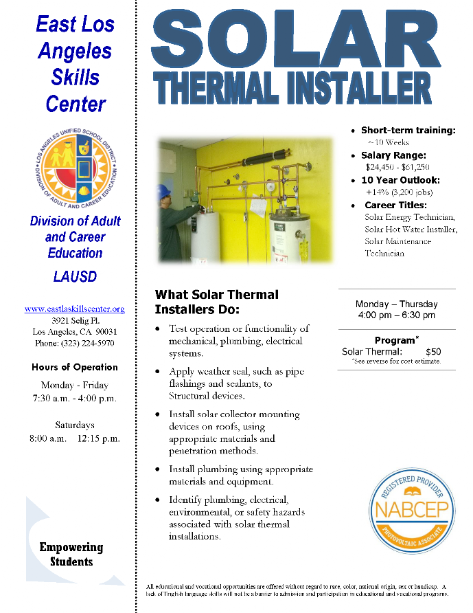 ELASC CTE Solar Thermal Installer